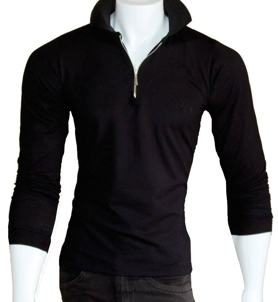 16a5f64b0 Camisa Pólo Masculina manga longa de zíper preto – TOKA BRASIL